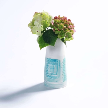 Porcelain Vase, Abstract Green and Blue