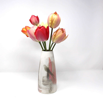 Pink and White Abstract Design Porcelain Vase, Bird Motif