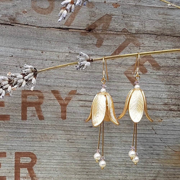 Fuchsia Gold Look Earrings