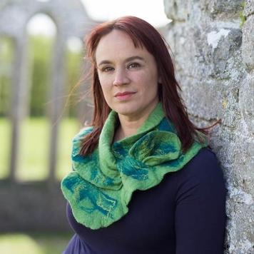 'Valentia' Felted Ruffle Collar Green