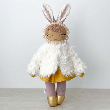 Bunny Girl with Furry Coat and Personalised Name