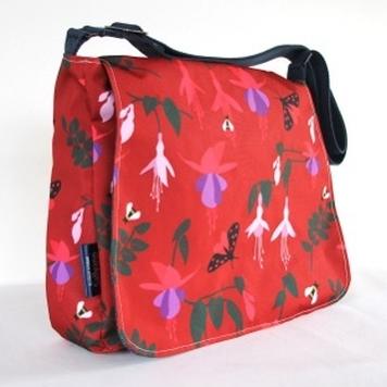 Clare Large Messenger Handbag in Red Fuchsia Fabric