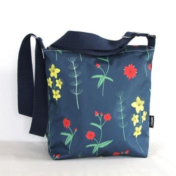 Amy Small Zip Top Handbag in Red Burren Fabric