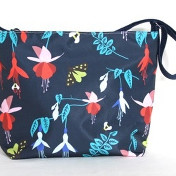 Fely Medium Zip Top Handbag in Blue Fuchsia Fabric