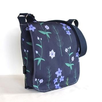Fiona Small Messenger Handbag in Blue Burren Fabric