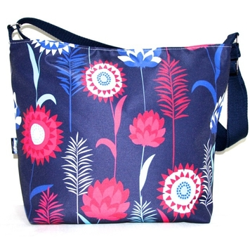 Tara Large Zip Top Handbag in Blue Meadow Fabric