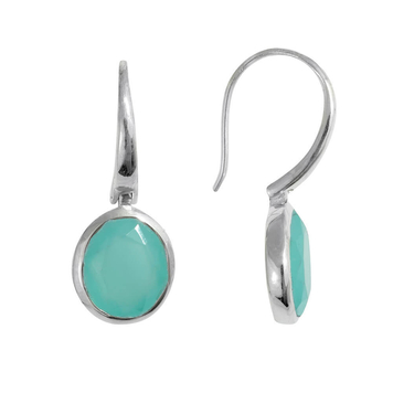 Sterling silver Tulum Earrings with Aqua Chalcedony drop