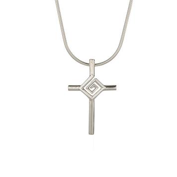 """St. Bridget's Cross on 18"""" snake chain"""