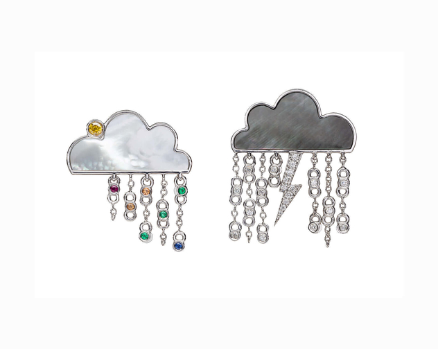 Armoura Designs Cloud Earrings diamond with Mother Of Pearl