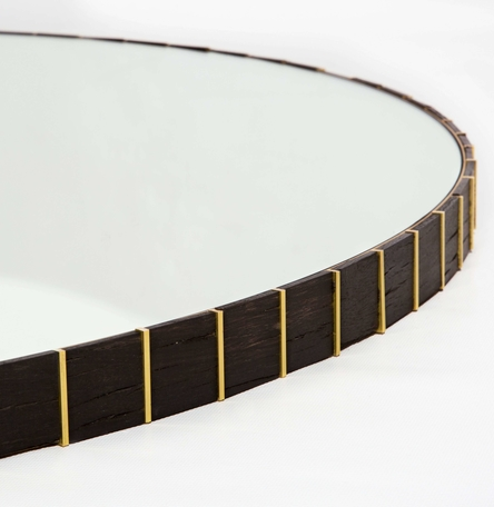 Bog Oak and Brass Mirror