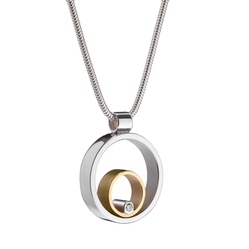 Circles Silver, Gold & Diamond Pendant