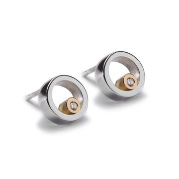 Circles Silver & Gold Diamond Stud Earrings