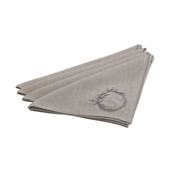 Wild Collection Natural Wreath Linen Napkins