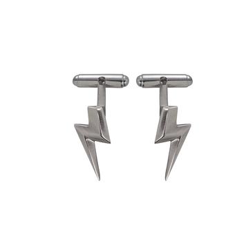 3D Flat Top Lightning Bolt Cufflinks