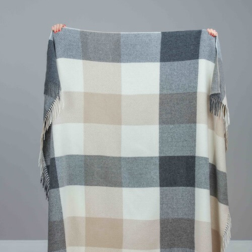 Block Check Cashmere Throw