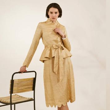 """Órla"" Gold Goache scalloped jacket"