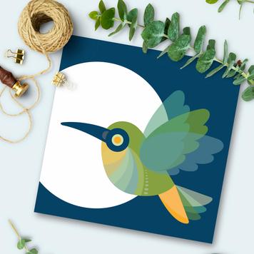 Hummingbird Square Card
