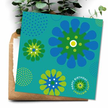 Happy Birthday Aqua Daisies Square Card