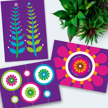 Purple cards 3-pack all occasion everyday cards
