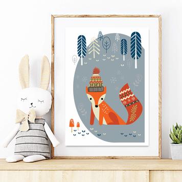 Original kids print - Winter fox in the woods DOVE GREY