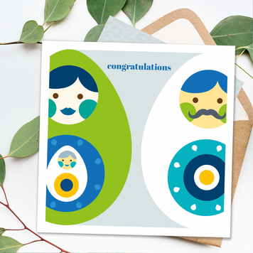 New Baby or Pregnancy Congratulations Card - Happy Eggs Square Card