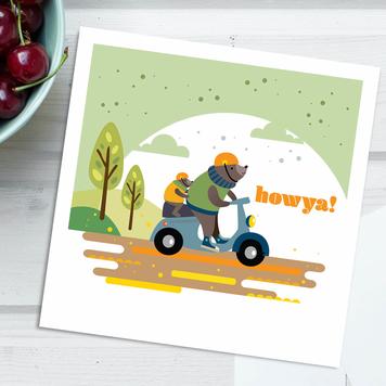 Howya! Freewheeling Bears Everyday Square Card