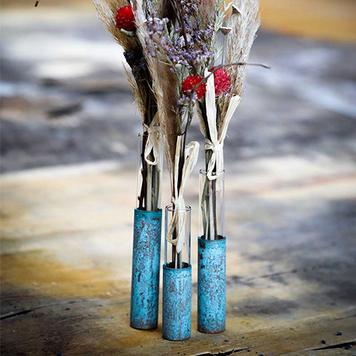 Copper Pipe Flower Bud Vase Set Of 3