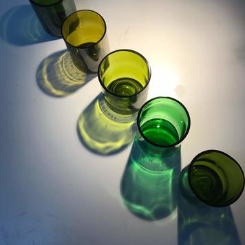 5 x Mixed Green Beakers