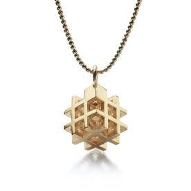 3D# Gold Pendant Small