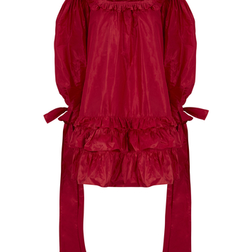 Cardinal Red Silk Taffeta Dress