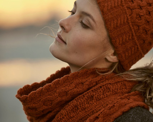Irelands Eye Styled Lifestyle Luxe Aran Hat and Scarf in Terra Cotta