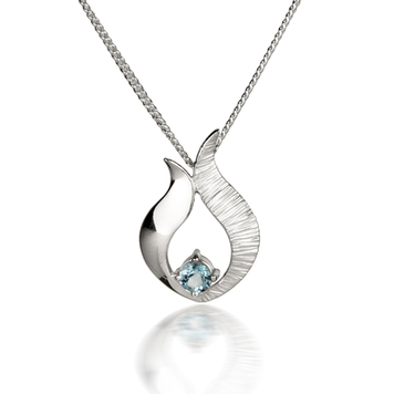 Ebb & Flow silver pendant with blue topaz