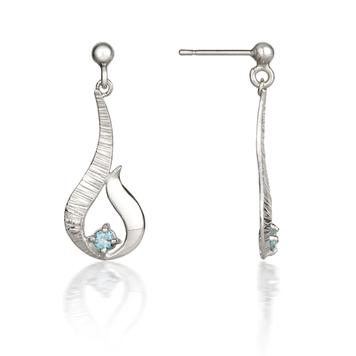 Ebb & Flow silver drop earrings with blue topaz