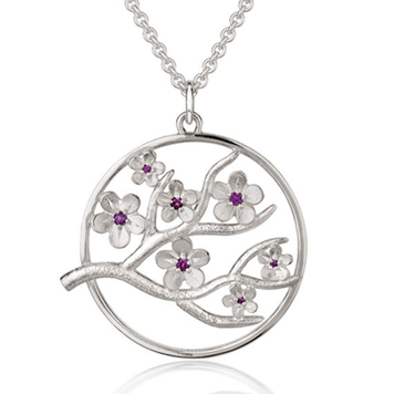 Cherry Blossom large pendant with garnets
