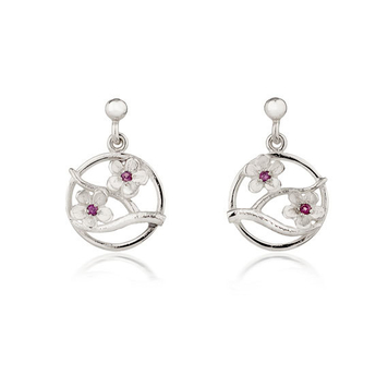 Cherry Blossom drop earrings with garnets