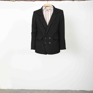 Black Herringbone Tweed Jacket