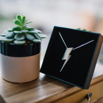 Flat Top Lightening Bolt Pendant Silver
