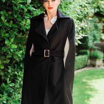 Black pure wool cape coat