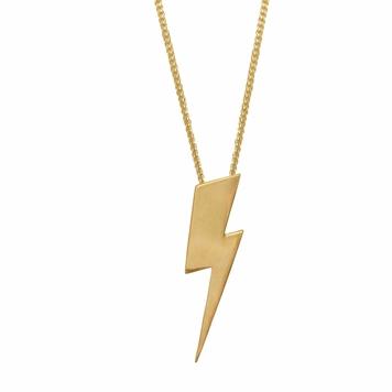 Flat Top Lightening Bolt Pendant - 18ct gold vermeil