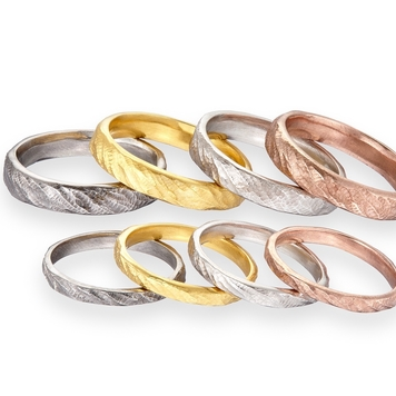 Ripple in time Wedding bands