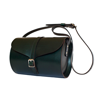 Dark Green Curve Barrel Bag