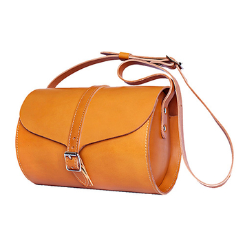 Tan Curve Barrel Bag