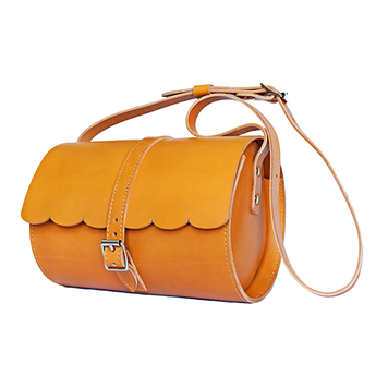 Tan Scallop Barrel Bag