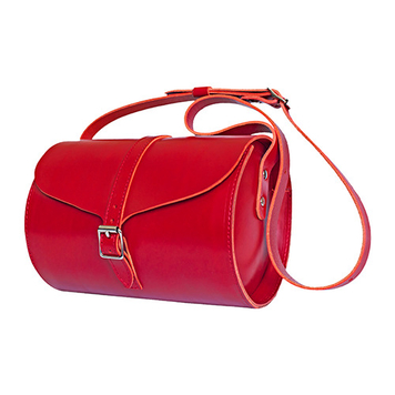 Curve Leather Barrel Bag – Red