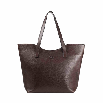 Caitlin Classic Large Tote in Dark Brown