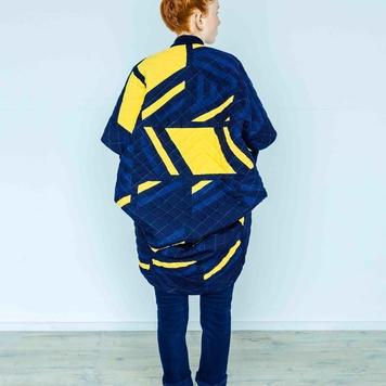 Linen Patchwork Cocoon Coat