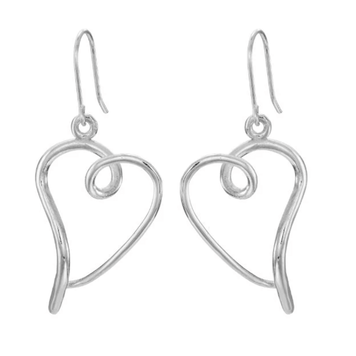 You Have My Heart Open Earrings Silver