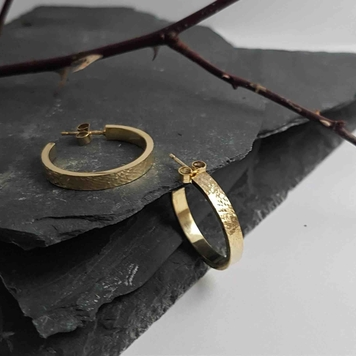 Metal and Lace Gold Hoop Earrings