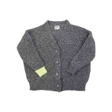Grey Wool Cardigan With Contrast Cuffs