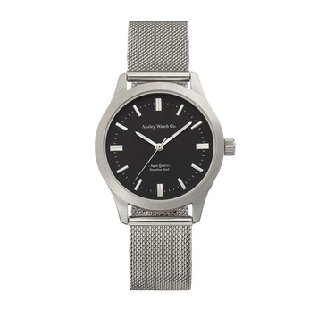 Silver army watch with black dial